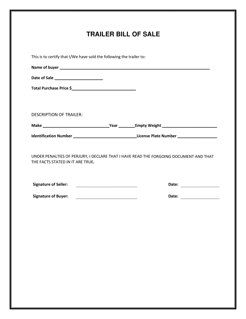 Free Trailer Bill Of Sale Form | Pdf Template | Form Download - Free Printable Bill Of Sale For Trailer