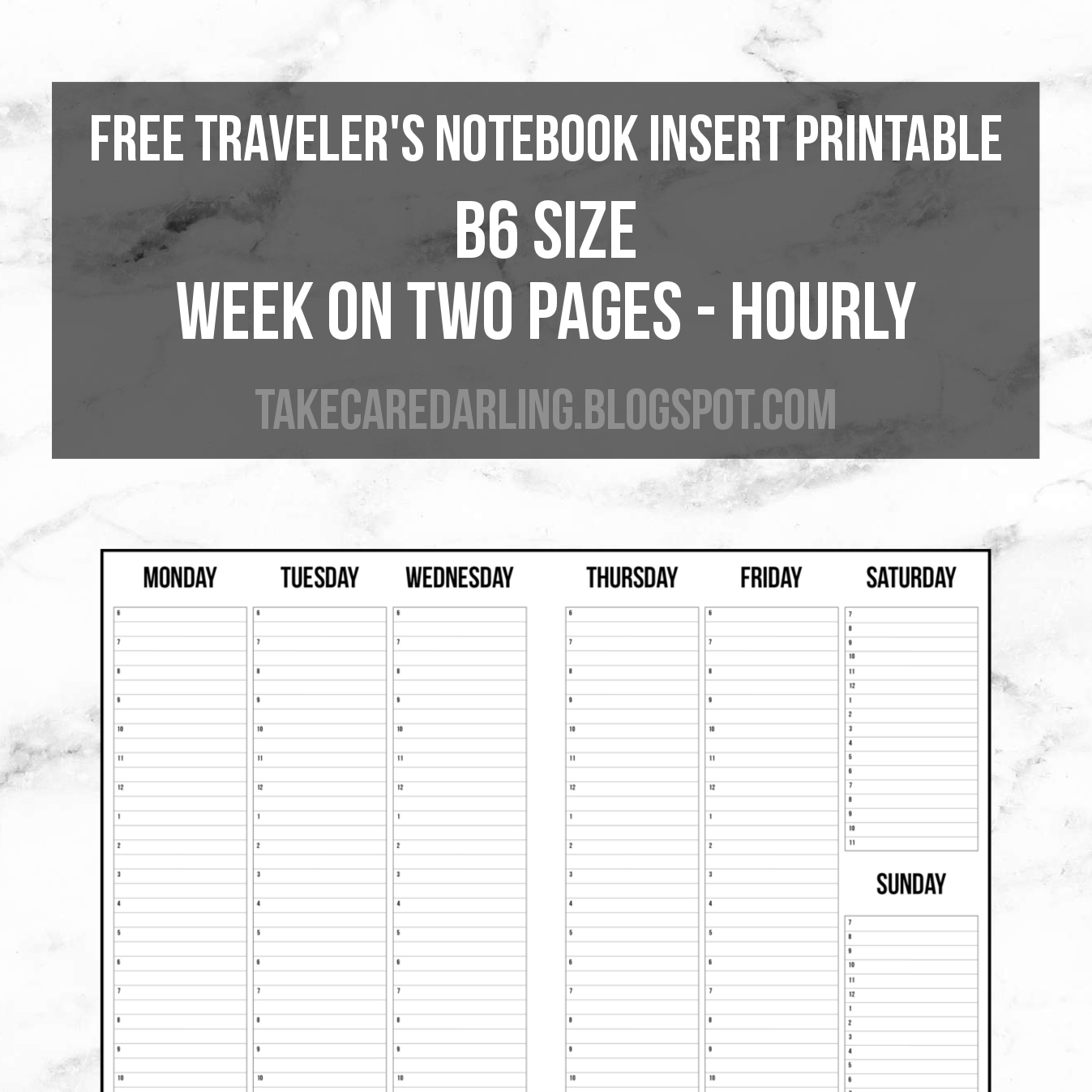 Free Traveler's Notebook Insert Printable B6 Size Week On Two Pages - Free Printable Traveler's Notebook Inserts