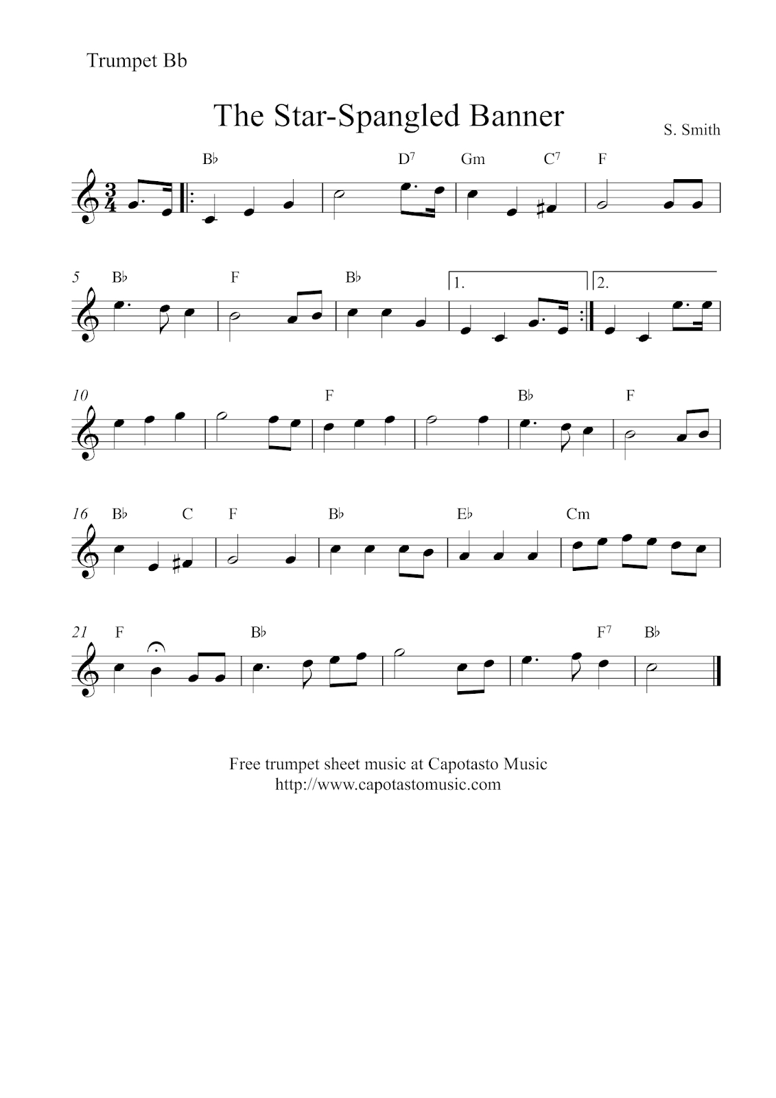 Free Trumpet Sheet Music | The Star-Spangled Banner - Free Printable Piano Sheet Music For The Star Spangled Banner