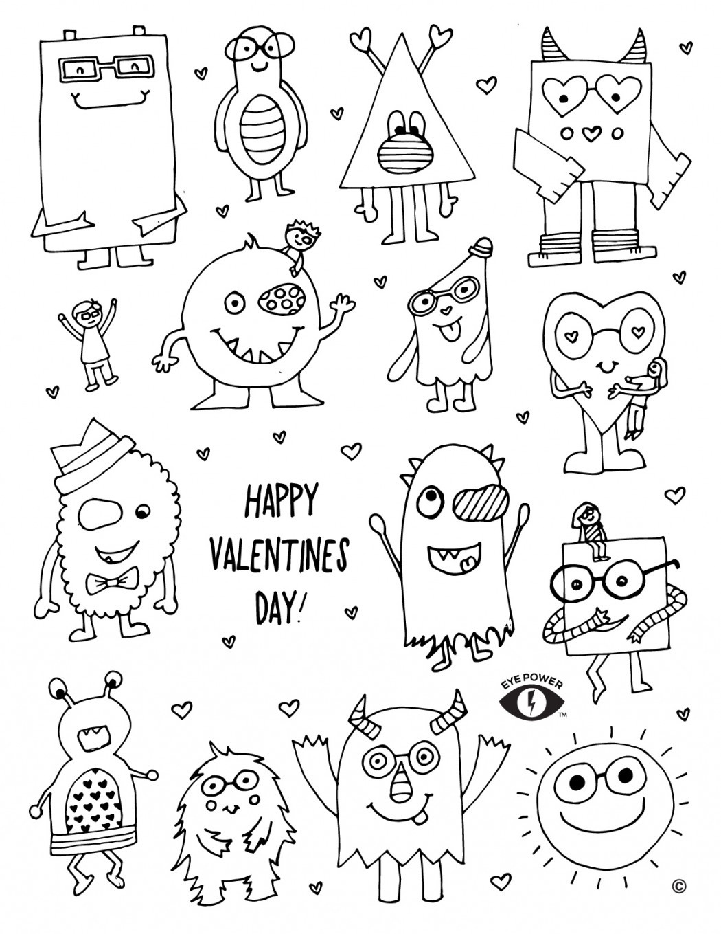 Free Valentines Coloring Page Printable - Eye Power Kids Wear - Free Printable Valentine Coloring Pages
