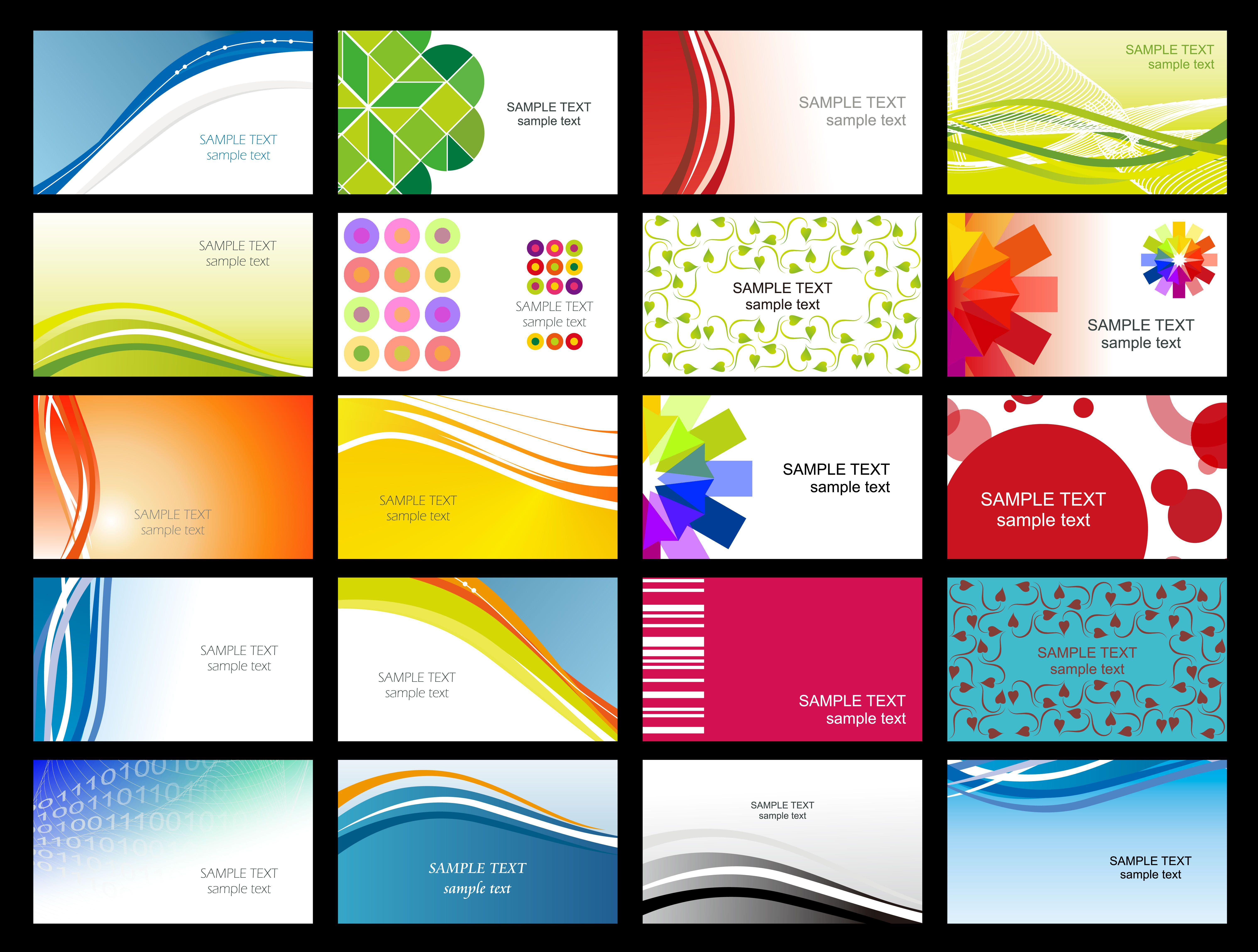 Free Vector Variety Of Dynamic Flow Line Of Business Card Templates - Free Printable Business Card Templates Pdf