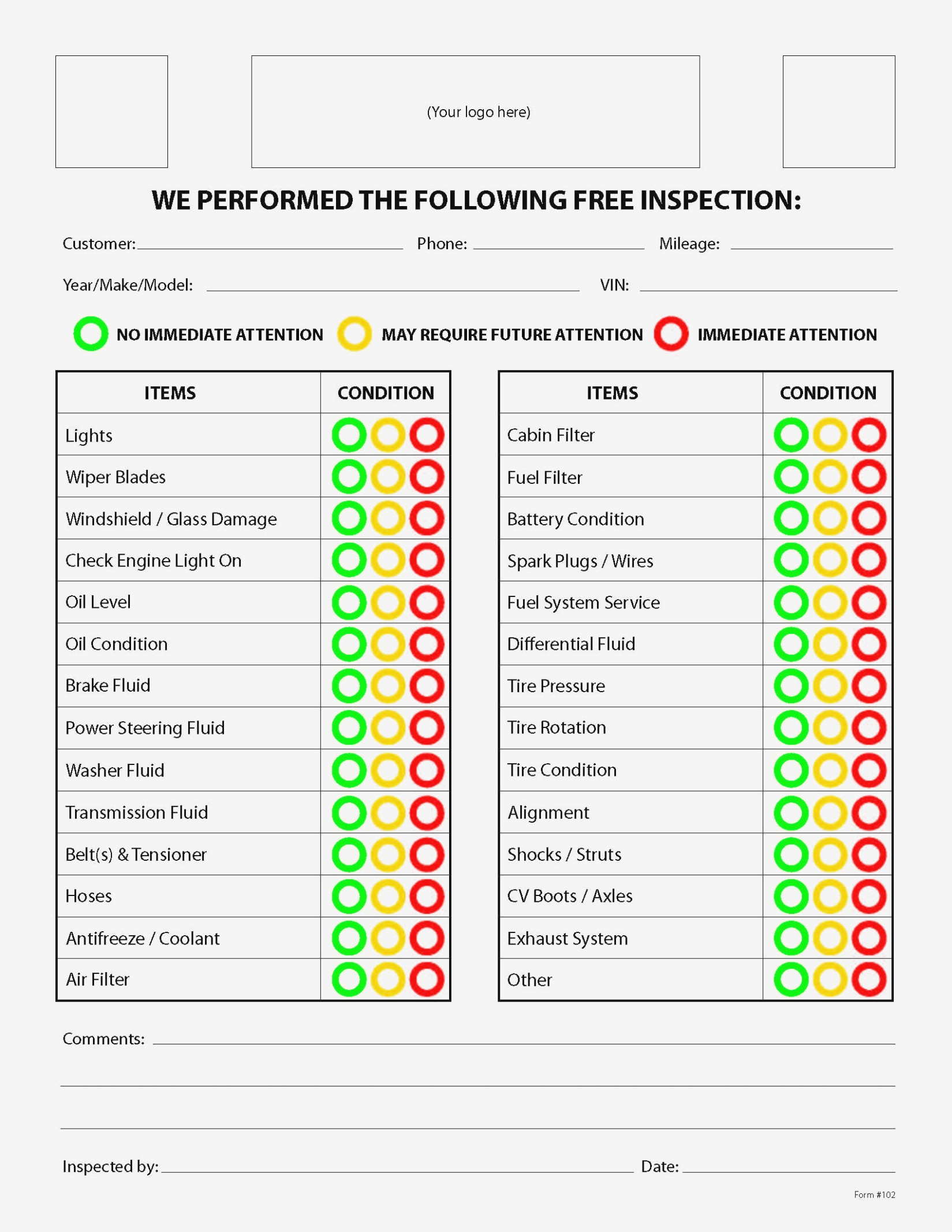 Free Vehicle Inspection Checklist – Kairo.11Terrains – Form Information - Free Printable Vehicle Inspection Form