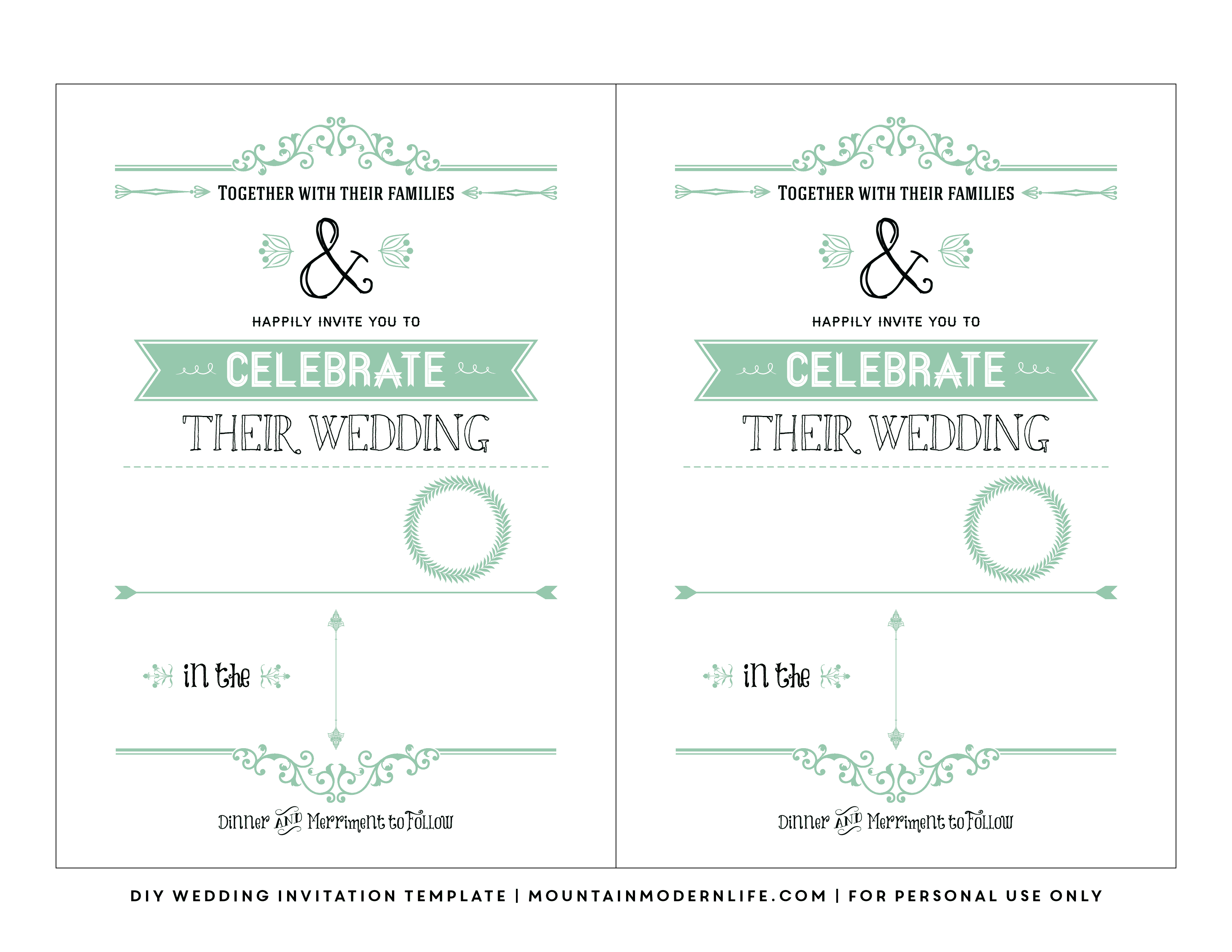 Free Wedding Invitation Template   Mountainmodernlife - Free Printable Wedding Invitations Templates Downloads