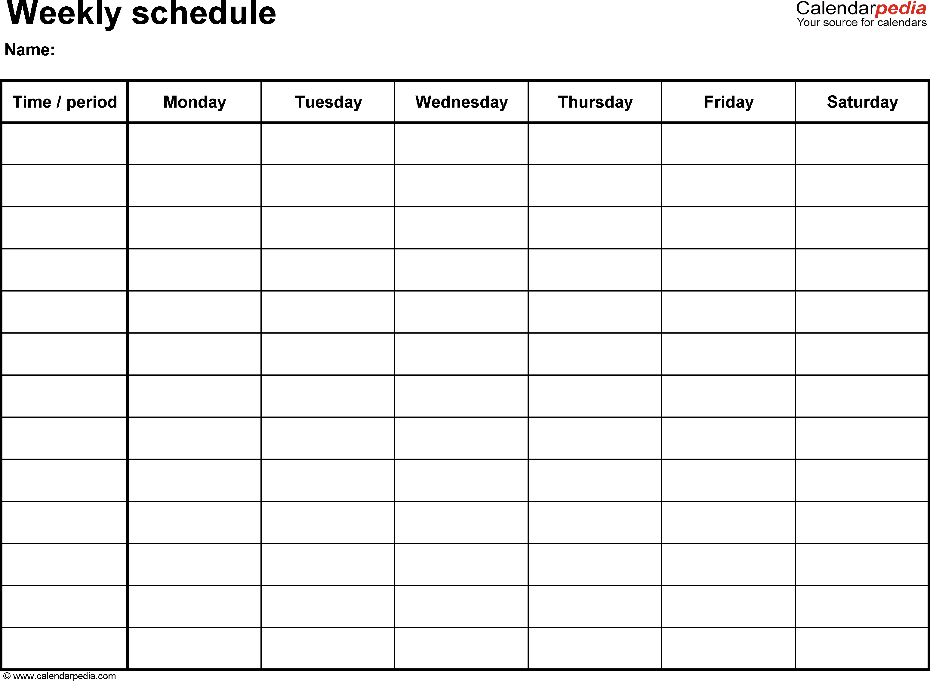 Free Weekly Schedule Templates For Pdf - 18 Templates - Free Printable Weekly Work Schedule