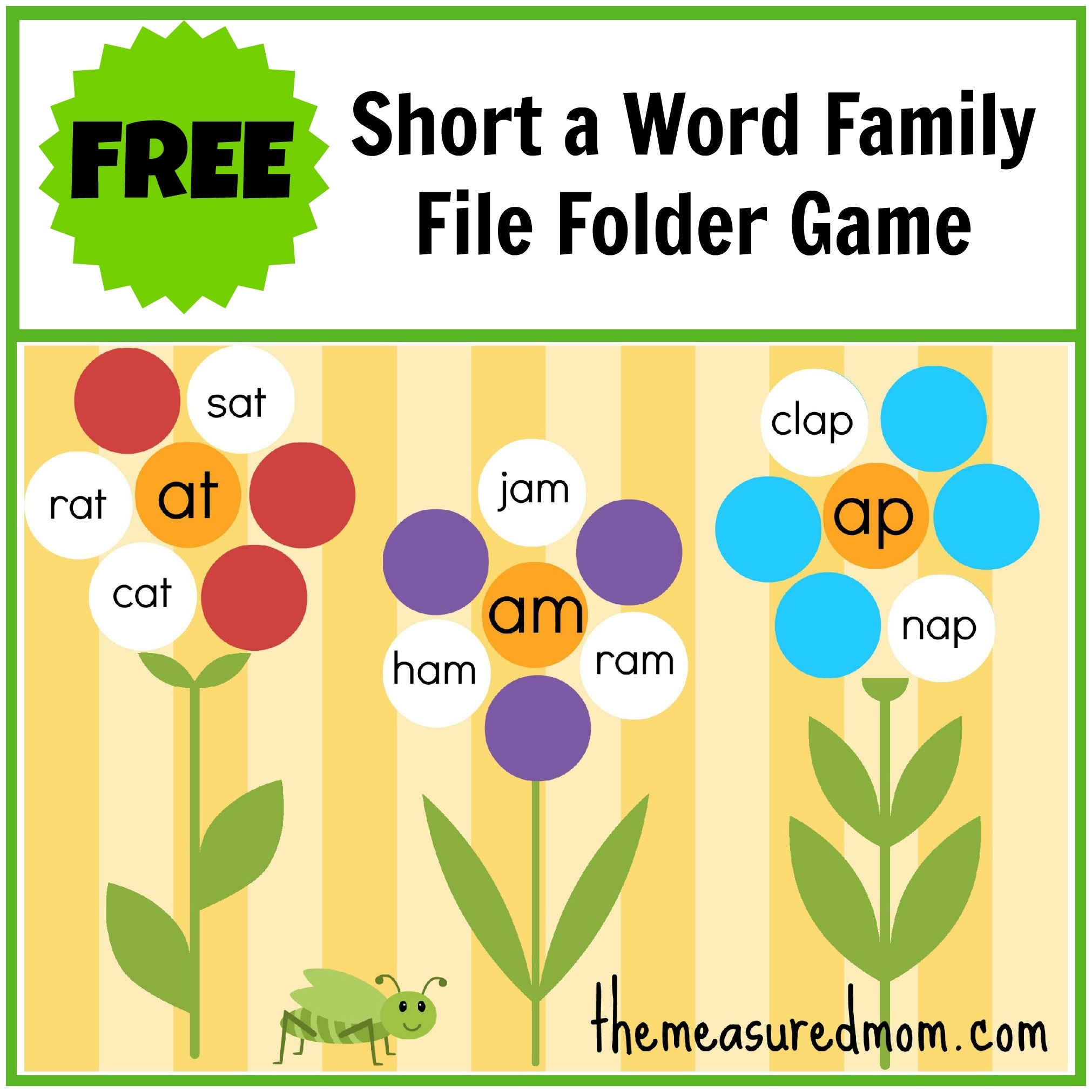 Free Word Family File Folder Game: Short A - The Measured Mom - Free - Free Printable Fall File Folder Games