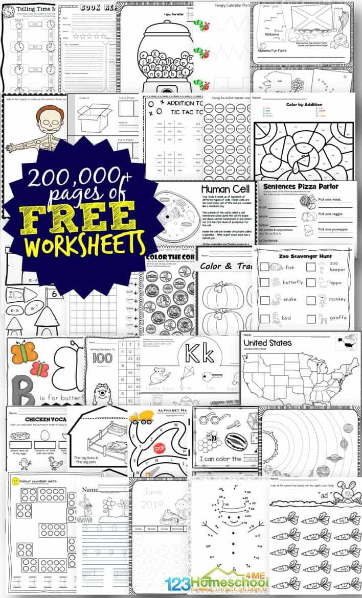 Free Worksheets - 200,000+ For Prek-6Th | 123 Homeschool 4 Me - Free Printable Kid Activities Worksheets