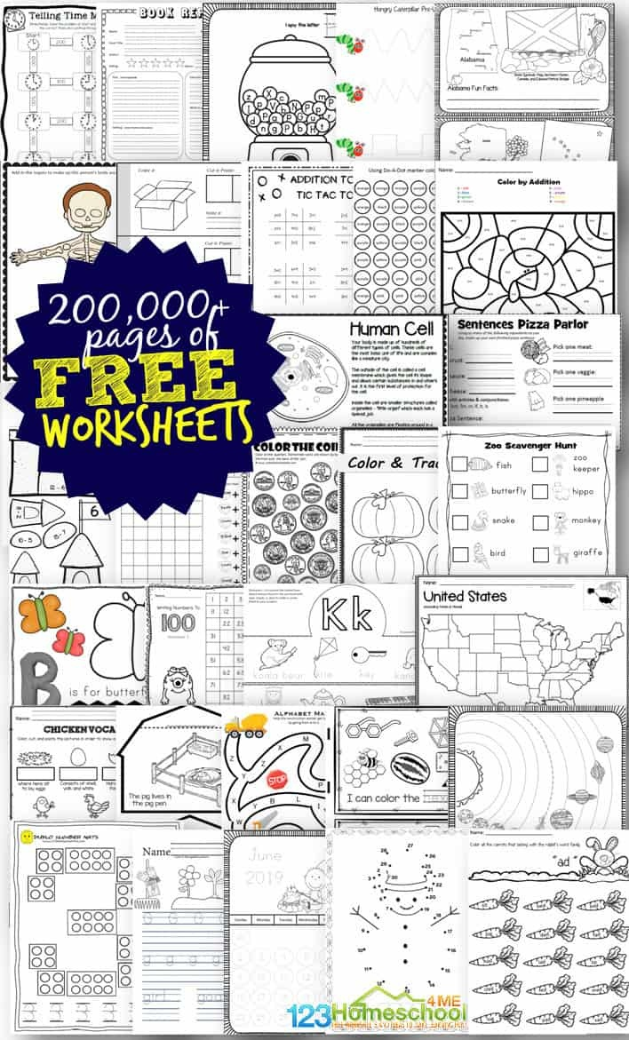 Free Worksheets - 200,000+ For Prek-6Th | 123 Homeschool 4 Me - Free Printable Worksheets