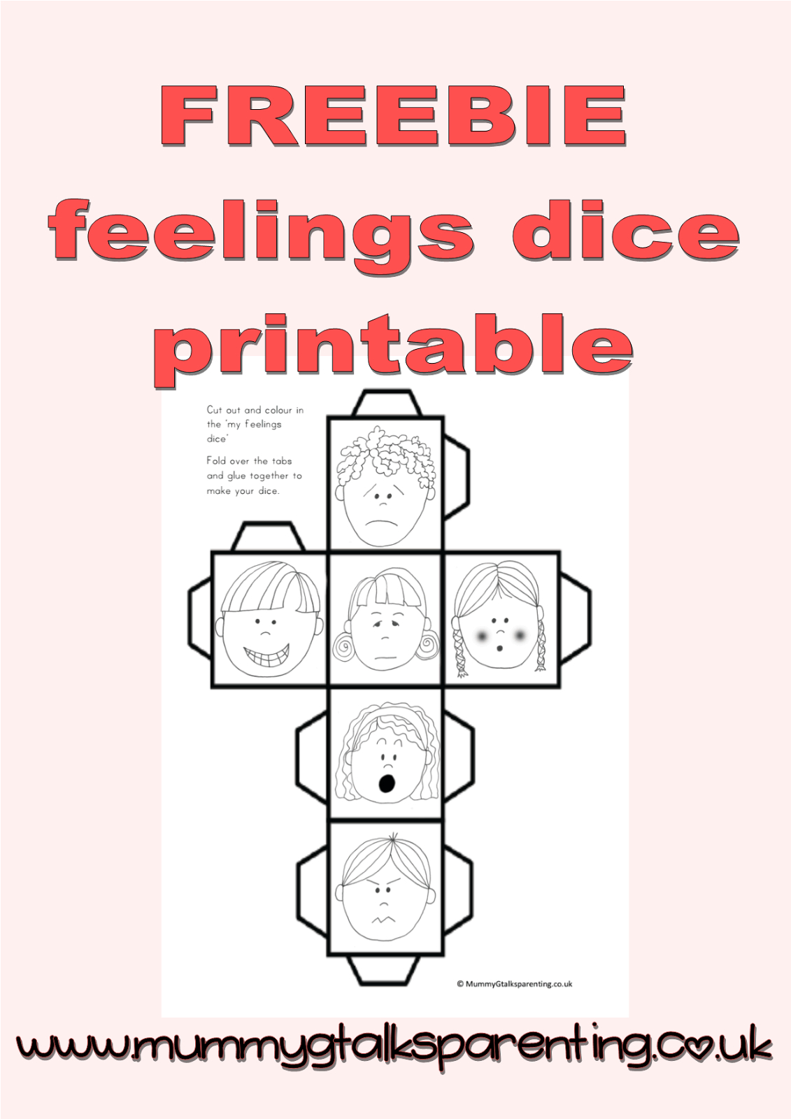 Freebie Feeling Dice Printable. Freebie Preschool Printables. Fun - Free Printable Childminding Resources