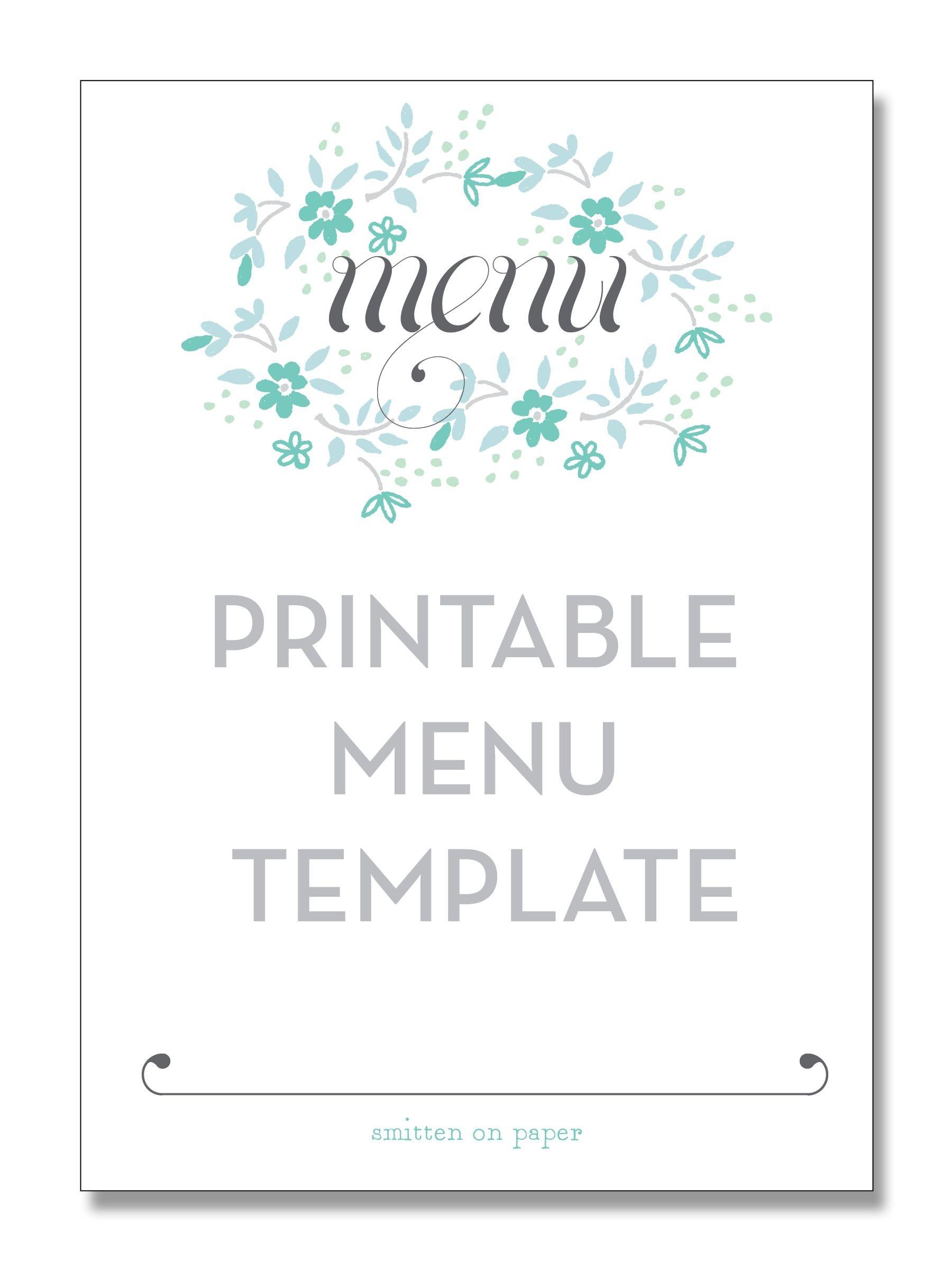 Freebie Friday: Printable Menu | Party Time! | Printable Menu, Menu - Free Printable Wedding Menu Card Templates