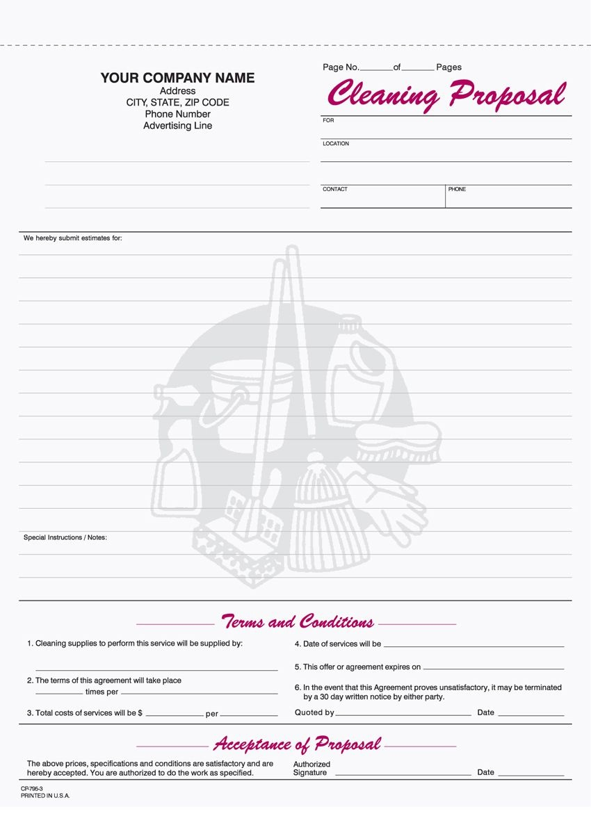 Free+Printable+Cleaning+Proposal+Forms | Monthly Budget | Cleaning - Free Printable Proposal Forms