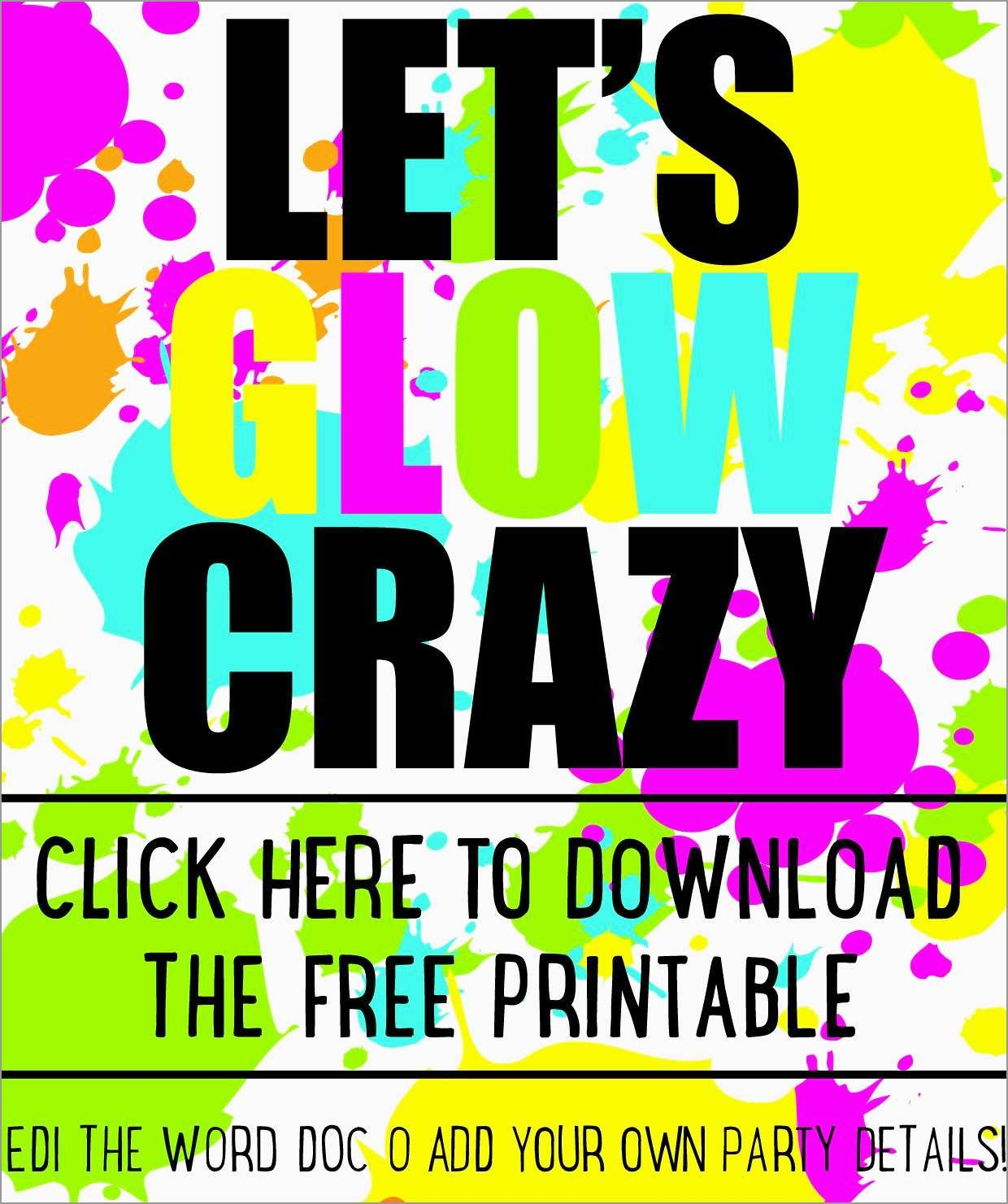 Fresh Neon Party Invitations Templates Free | Best Of Template - Free Printable Glow In The Dark Birthday Party Invitations