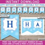 Frozen Party Banner Template | Birthday Banner | Editable Bunting   Frozen Happy Birthday Banner Free Printable