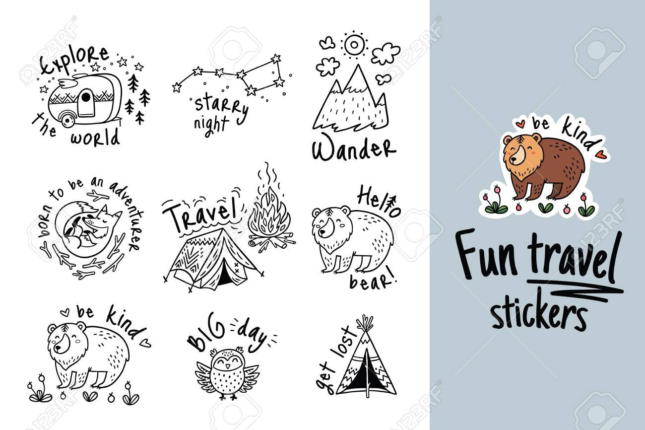 Fun Travel Stickers And Patches For Big Adventures In Ink Style - Free Printable Travel Stickers