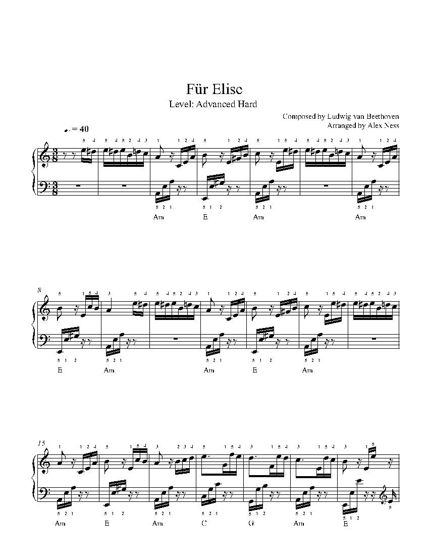 Für Eliseludwig Van Beethoven Piano Sheet Music | Advanced Level - Free Printable Piano Sheet Music Fur Elise