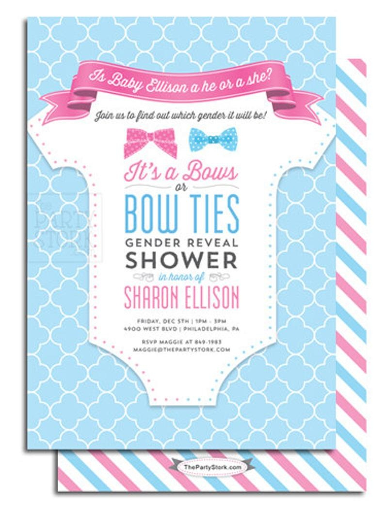 Gender Reveal Party Invitation Printable Bows Or Bowties Theme | Etsy - Free Stork Party Invitations Printable