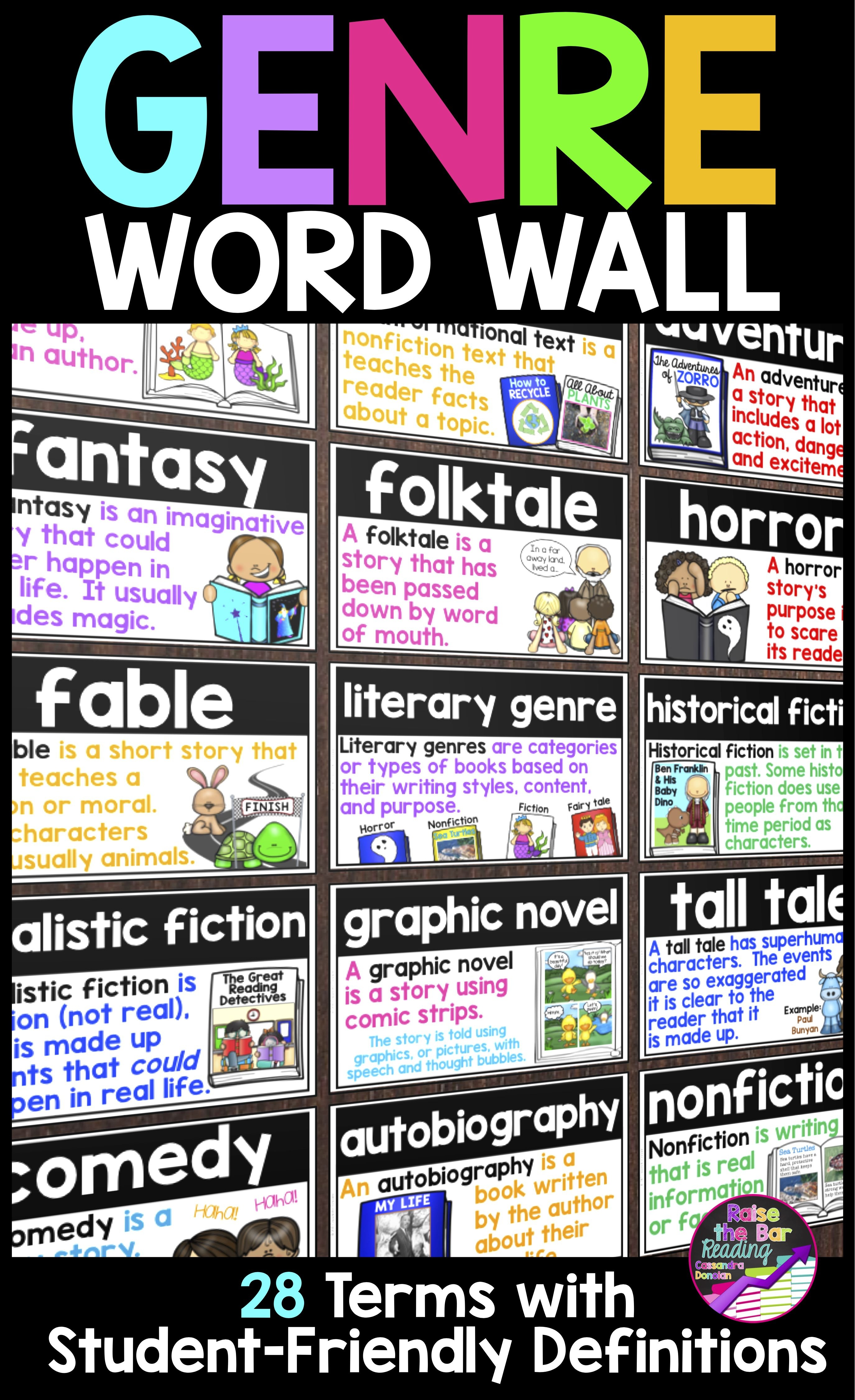 Genre Word Wall ~ 28 Reading Genre Posters, Word Wall Cards Or - Genre Posters Free Printable