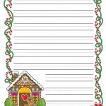 Gingerbread Printable Border Paper With And Without Lines  4 Designs   Free Printable Border Paper