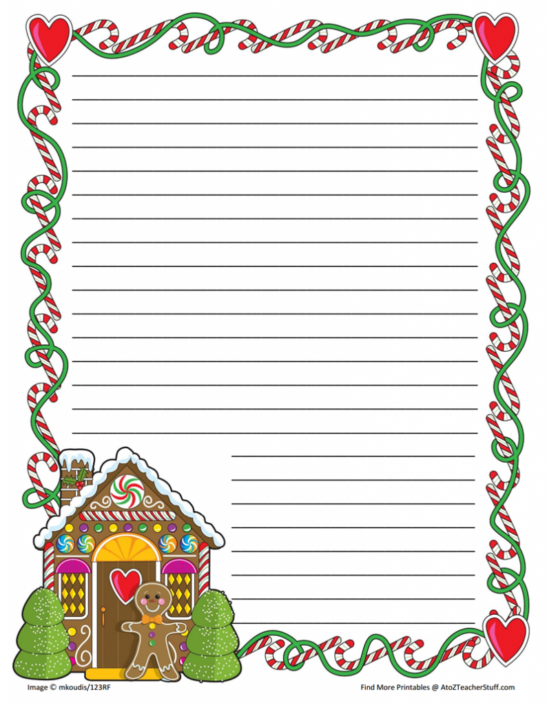 Gingerbread Printable Border Paper With And Without Lines | A To Z - Free Printable Christmas Writing Paper With Lines