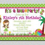 Girl Luau Birthday Party Invitations | Sweet Party In 2019 | Luau   Hawaiian Party Invitations Free Printable