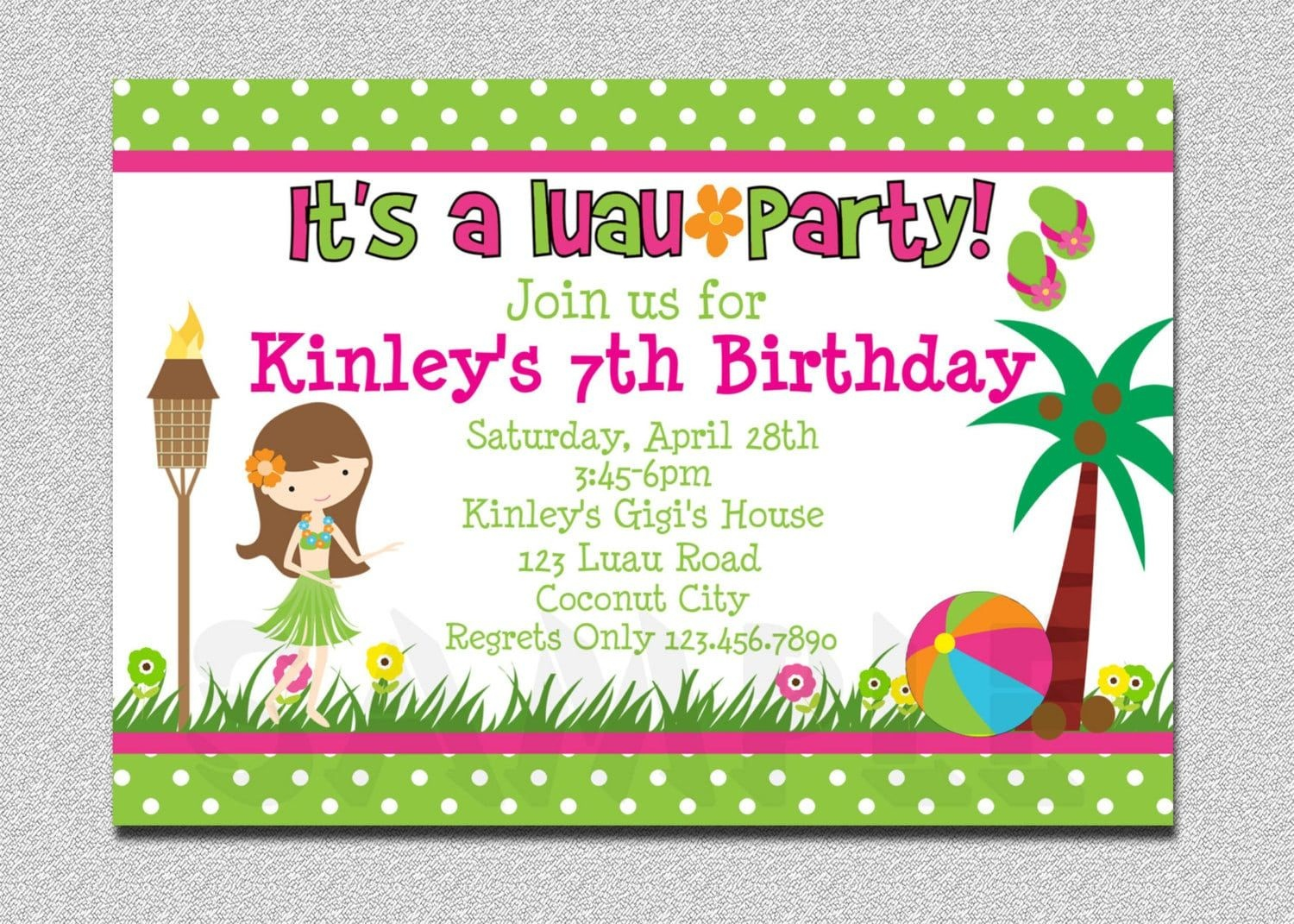 Girl Luau Birthday Party Invitations | Sweet Party In 2019 | Luau - Hawaiian Party Invitations Free Printable