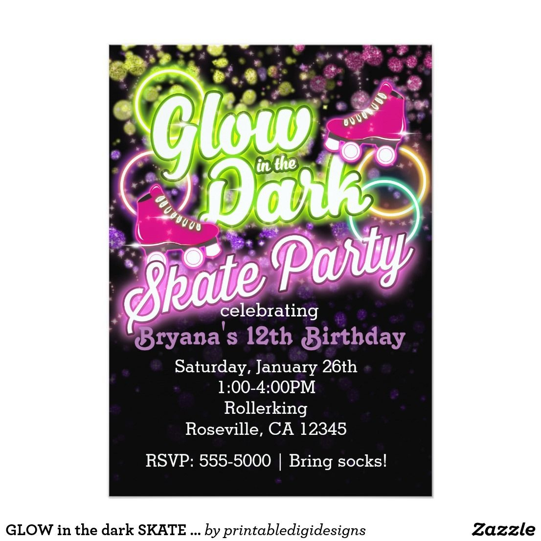 Glow In The Dark Skate Party Birthday Invitation | Zazzle In - Free Printable Glow In The Dark Birthday Party Invitations