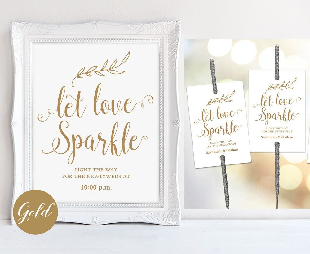 Gold Sparkler Send Off Sign & Tags Set Printable Wedding | Etsy - Free Printable Wedding Sparkler Sign