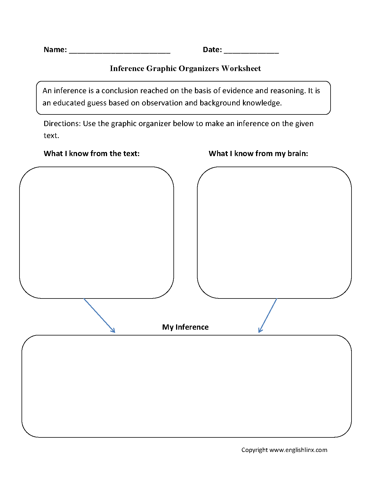 Graphic Organizers Worksheets | Inference Graphic Organizers Worksheets - Free Printable Graphic Organizers