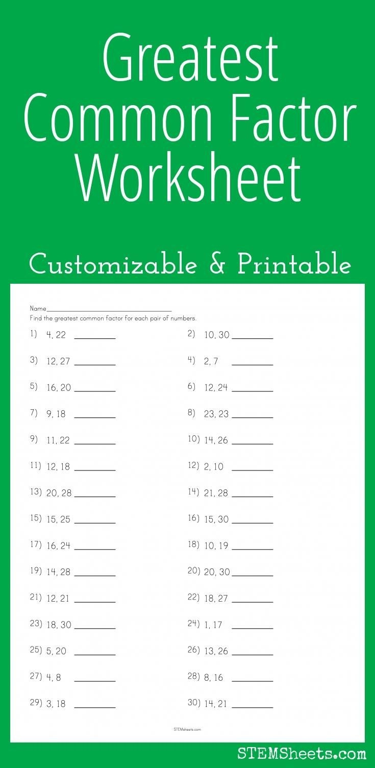 Greatest Common Factor Worksheet - Customizable And Printable | Math - Free Printable Greatest Common Factor Worksheets