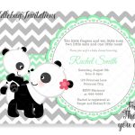 Green Panda Bear Baby Shower Invitation Baby Panda Shower | Etsy   Panda Bear Invitations Free Printable