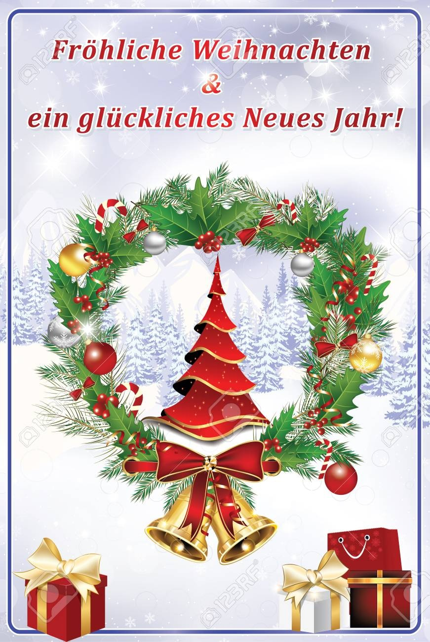 Greeting Card For The New Year With Text In German Language:.. Stock - Free Printable German Christmas Cards