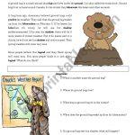 Groundhog Day Reading Comprehension   Esl Worksheetmrsemi   Free Printable Groundhog Day Reading Comprehension Worksheets