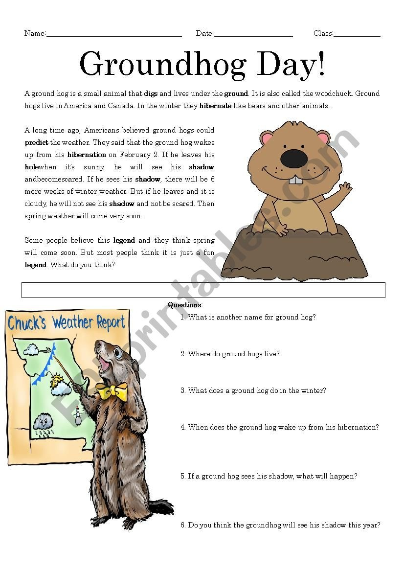 Groundhog Day Reading Comprehension - Esl Worksheetmrsemi - Free Printable Groundhog Day Reading Comprehension Worksheets