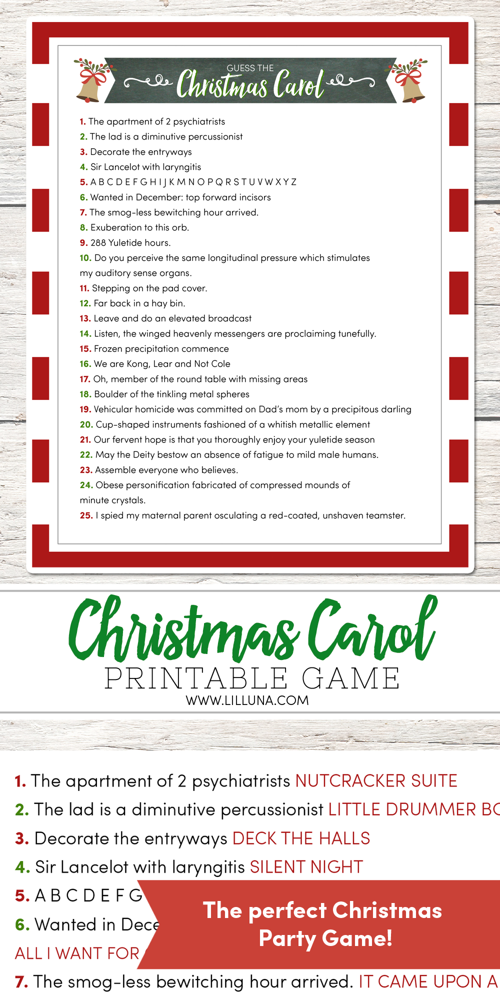 Guess The Christmas Carol Game | Lil' Luna | Christmas Party Games - Christmas Song Lyrics Game Free Printable
