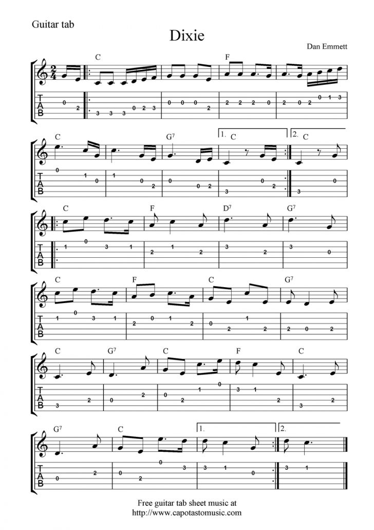 Free Guitar Sheet Music For Popular Songs Printable