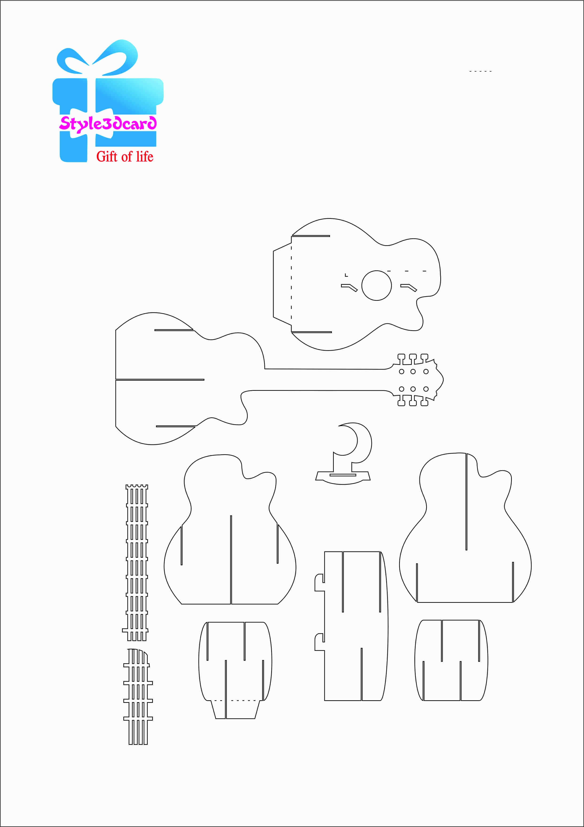 Guitar Pattern 3D Pop-Up Card 1 | Templets | Birthday Card Pop Up - Free Printable Kirigami Pop Up Card Patterns