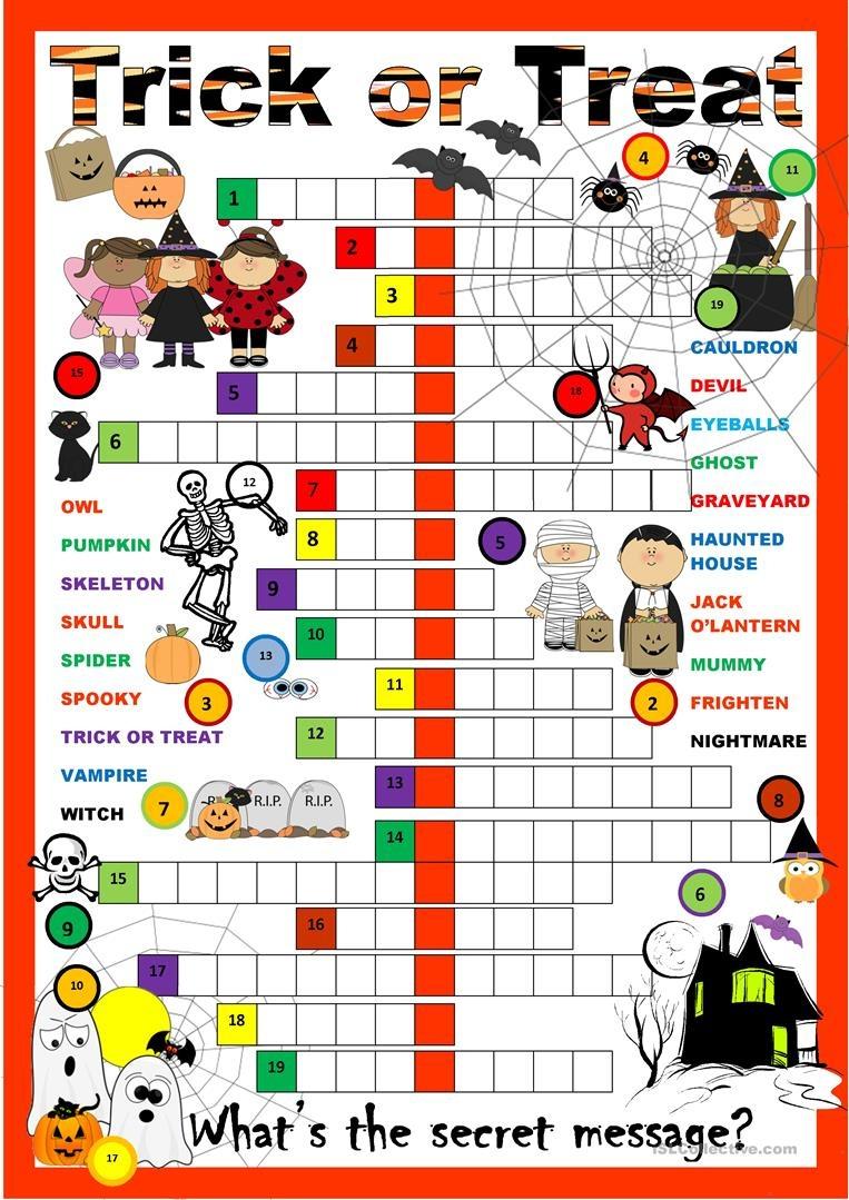 Halloween Crossword Worksheet - Free Esl Printable Worksheets Made - Halloween Crossword Printable Free