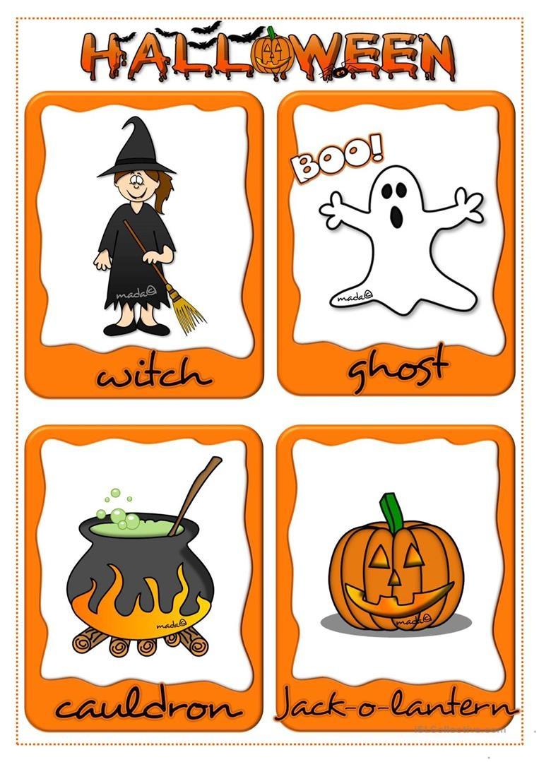Halloween - Flashcards Worksheet - Free Esl Printable Worksheets - Free Printable Halloween Cards