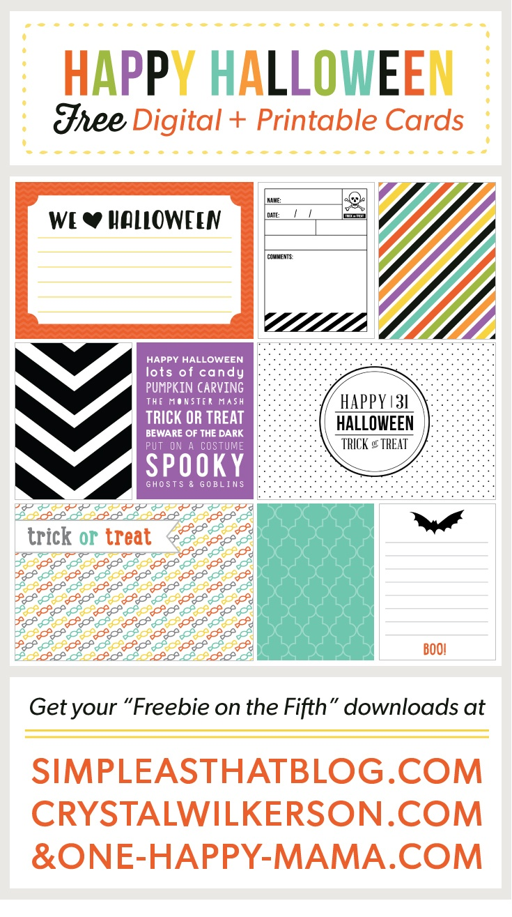 Halloween Journaling + Filler Cards - Free Printable Halloween Cards