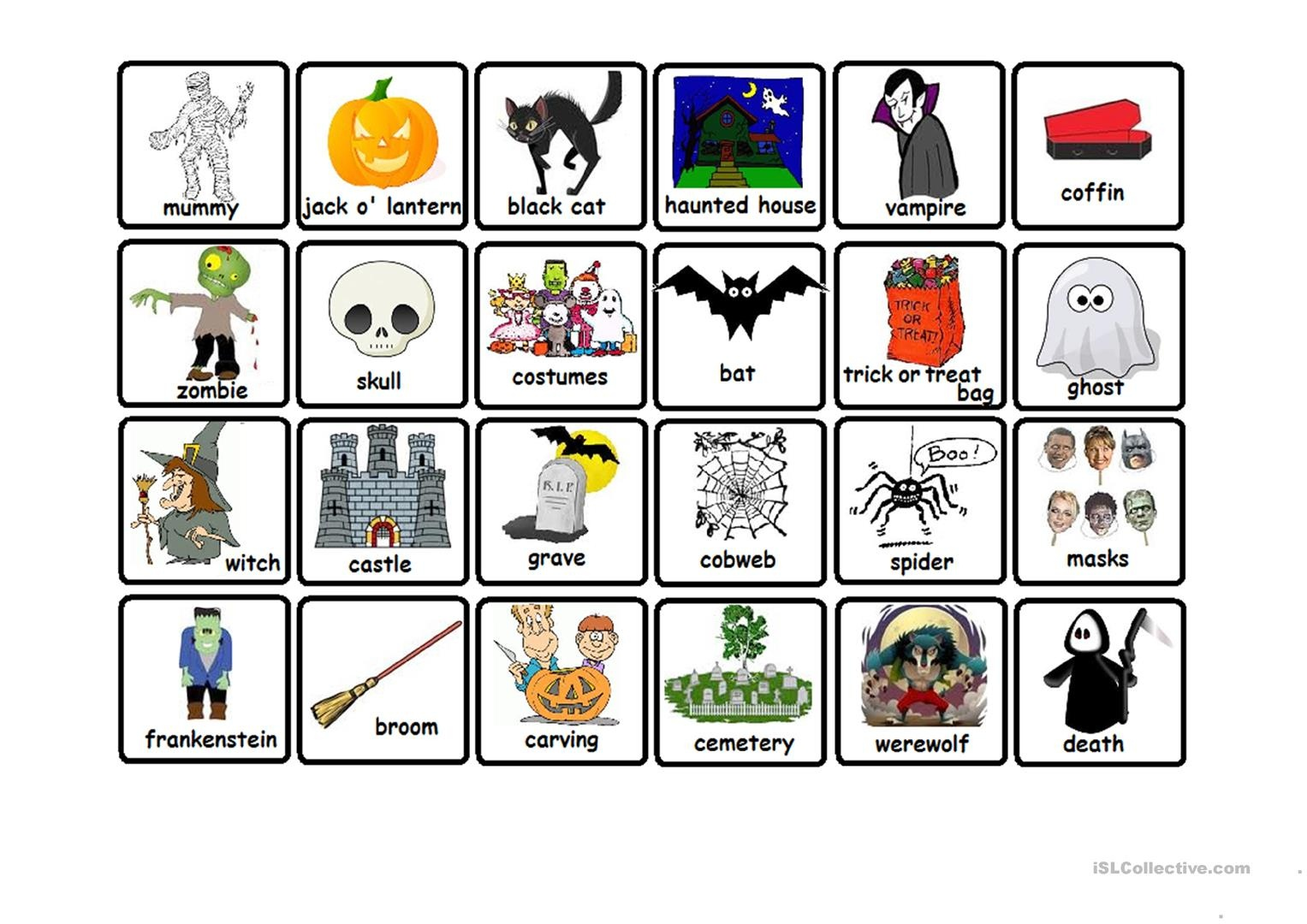 Halloween Memory Game Worksheet - Free Esl Printable Worksheets Made - Free Printable Memory Exercises