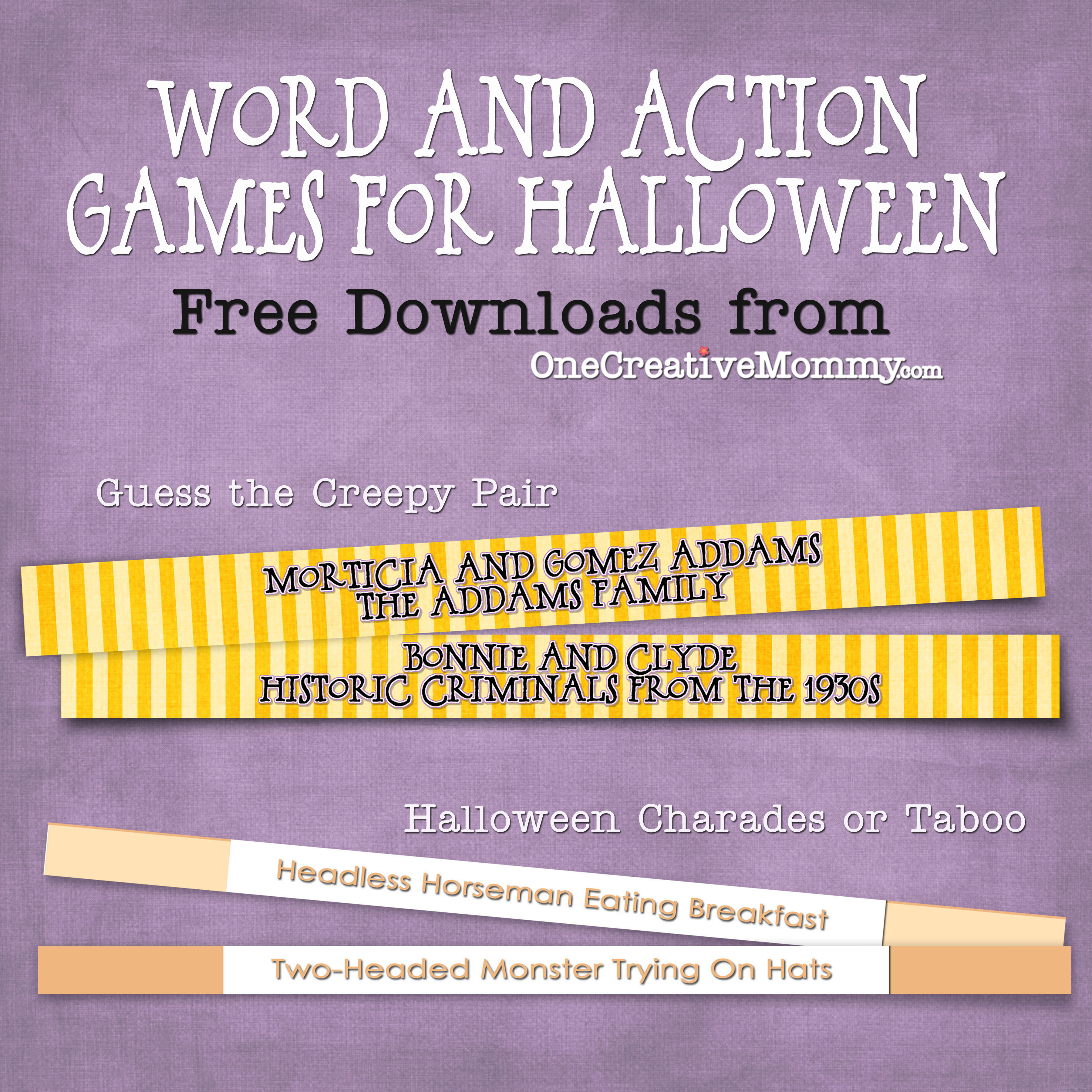 Halloween Party Games {Free Downloads} - Onecreativemommy - Free Printable Halloween Party Games