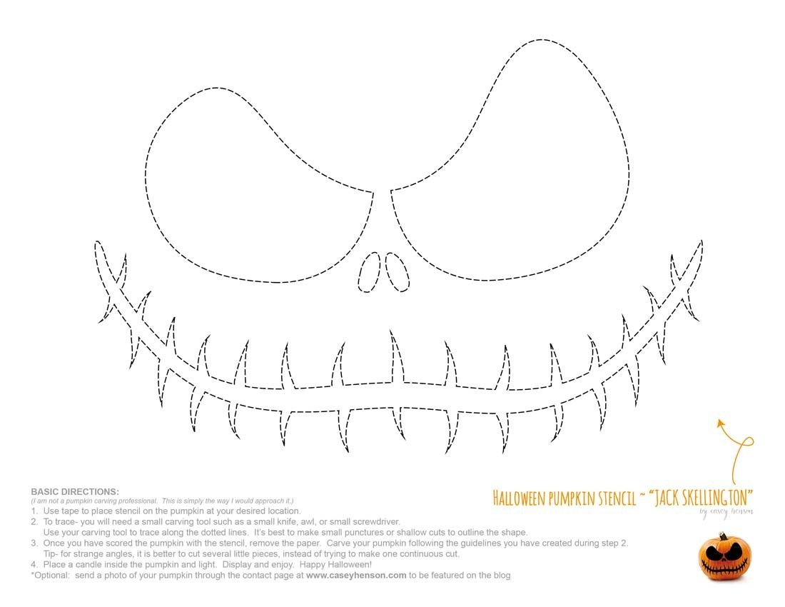 Halloween Pumpkin Carving Stencils: The Nightmare Before Christmas - Jack Skellington Stencil Free Printable