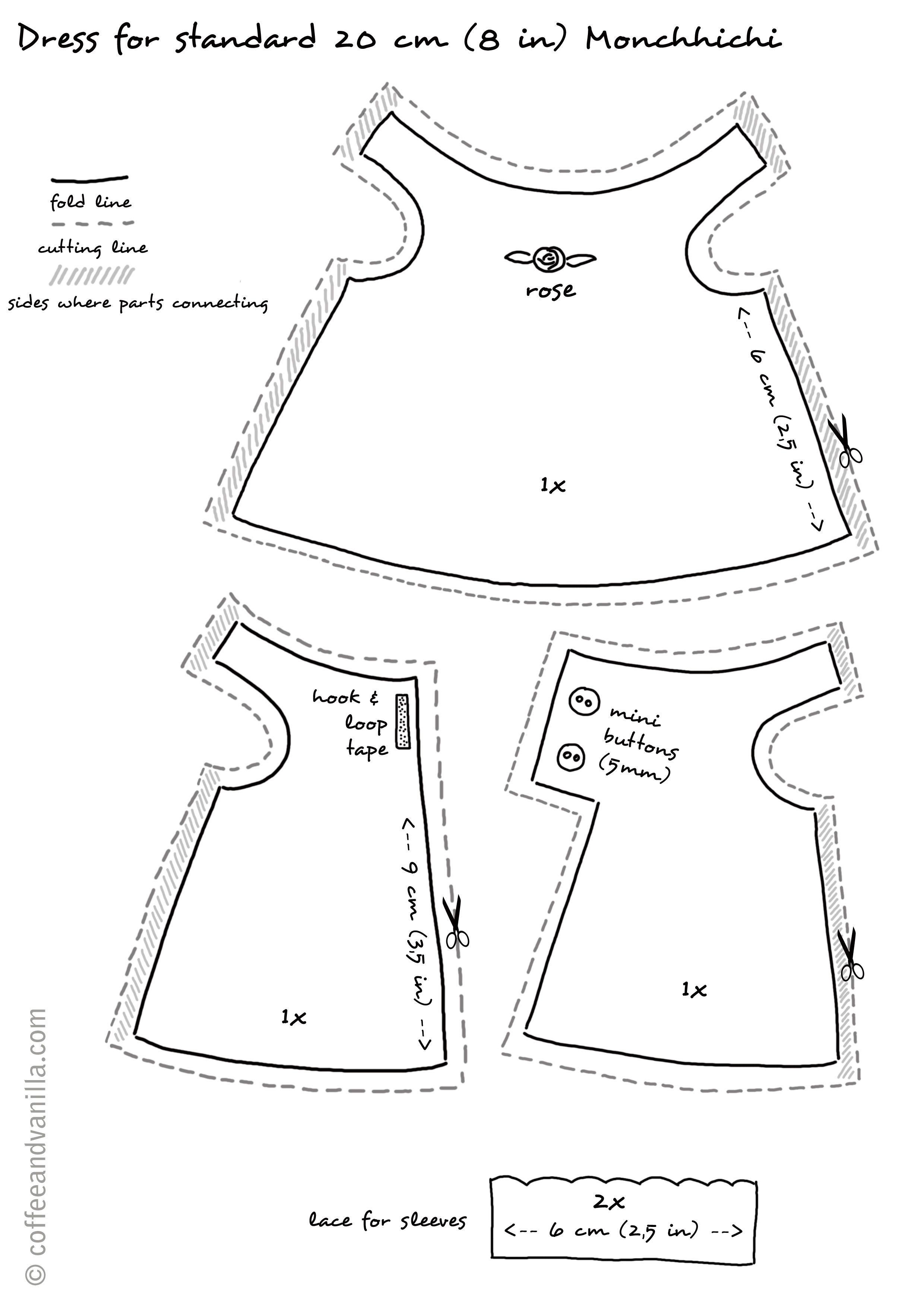 Handmade Dress For Monchhichi | Doll's Dress & Accessories | Doll - Barbie Dress Patterns Free Printable Pdf