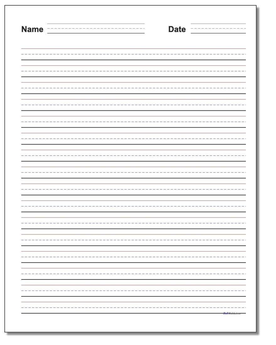 Handwriting Paper - Free Printable Lined Handwriting Paper
