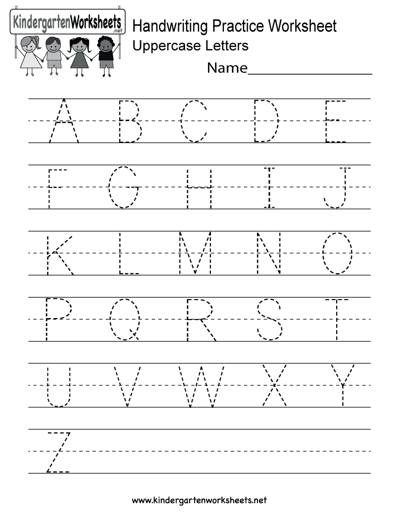Handwriting Practice Worksheet - Free Kindergarten English Worksheet - Free Printable Handwriting Sheets For Kindergarten