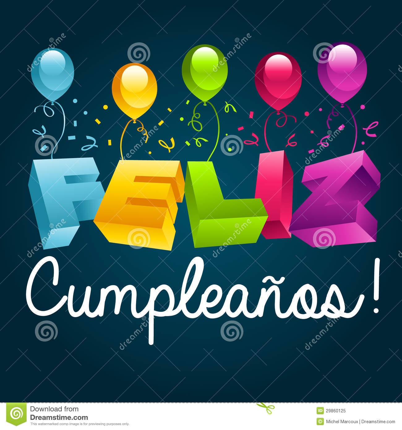 Happy Birthday In Spanish Stock Vector. Illustration Of Card - 29860125 - Free Printable Happy Birthday Cards In Spanish
