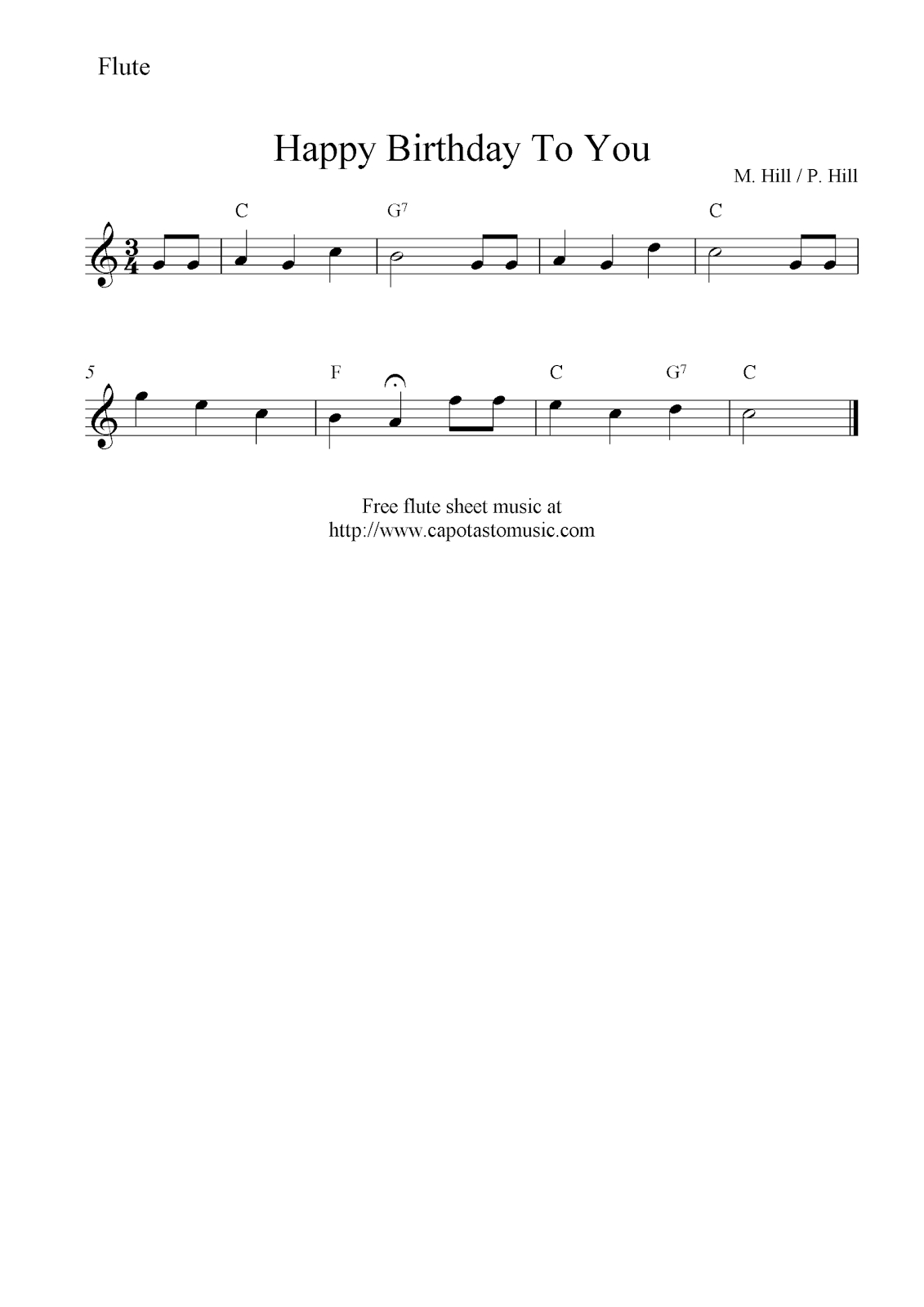 Happy Birthday To You, Free Flute Sheet Music Notes - Free Printable Flute Sheet Music
