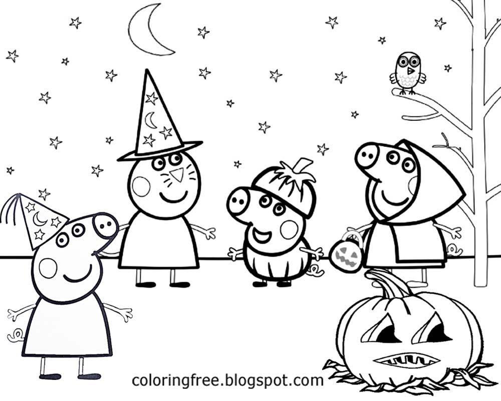 Happy Halloween Peppa Pig! Free Printable Coloring Pages!   Peppa - Pig Coloring Sheets Free Printable