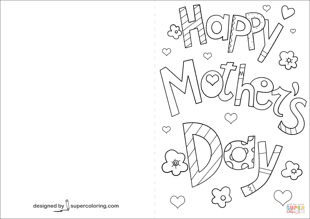 Happy Mother's Day Card Coloring Page | Free Printable Coloring Pages - Free Printable Mothers Day Cards To Color