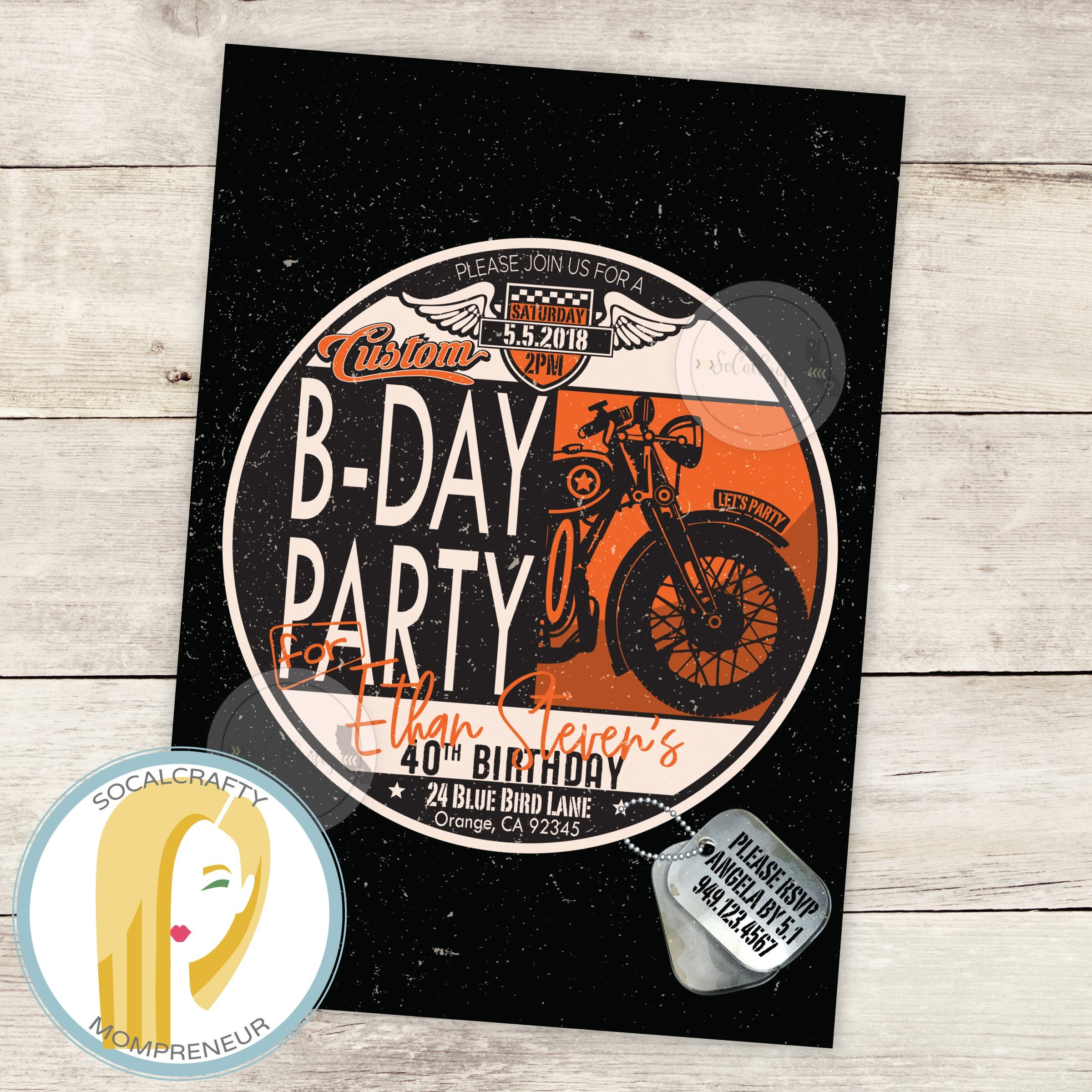 Harley Davidson Birthday Party Invitation Motorcycle | Etsy - Motorcycle Invitations Free Printable