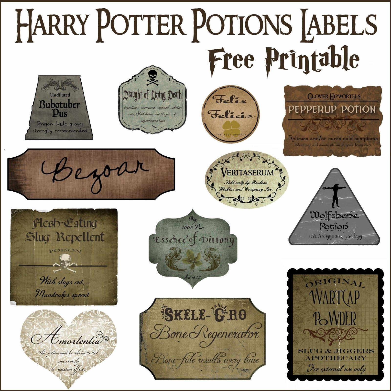 Harry Potter Potion Label Printables | Diy Home Decor Ideas | Harry - Free Printable Potion Labels